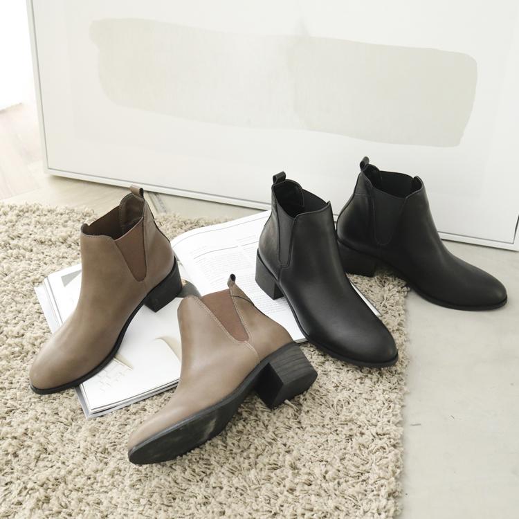 D+AF 復古粗鞋跟切爾西靴