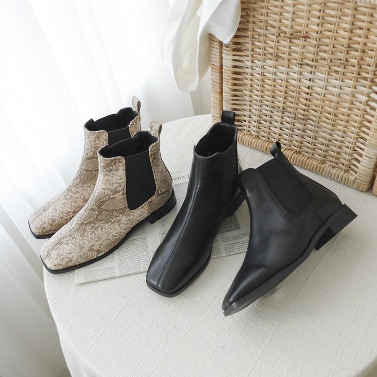 D+AF 低跟小方頭切爾西靴推薦