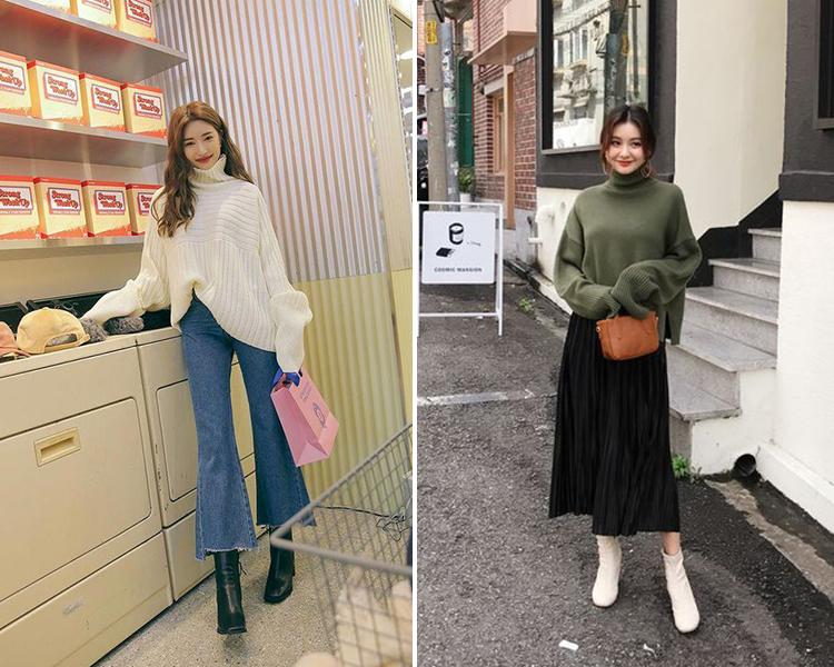 韓國穿搭 韓國秋冬穿搭 襪靴 針織上衣