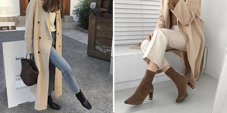 韓國穿搭 韓國秋冬穿搭 襪靴 風衣外套
