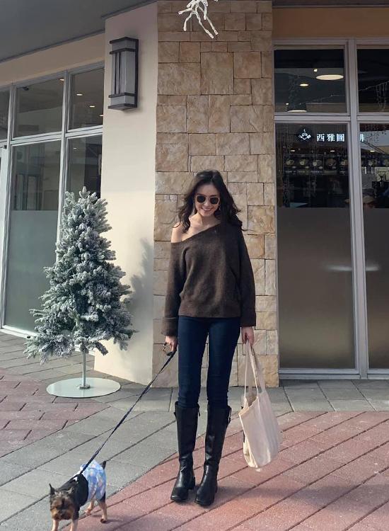 D+AF 韓國穿搭 韓國秋冬穿搭  膝下靴 皮革膝下靴