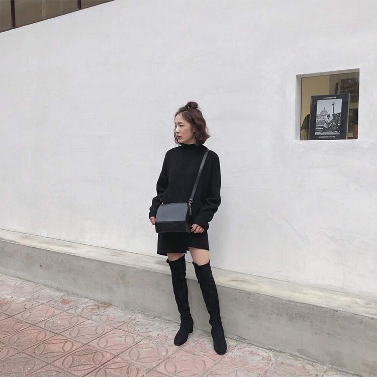 顯瘦感絨料中跟膝上長靴 小隻女穿搭 膝上靴穿搭 chrisanne_tai穿搭