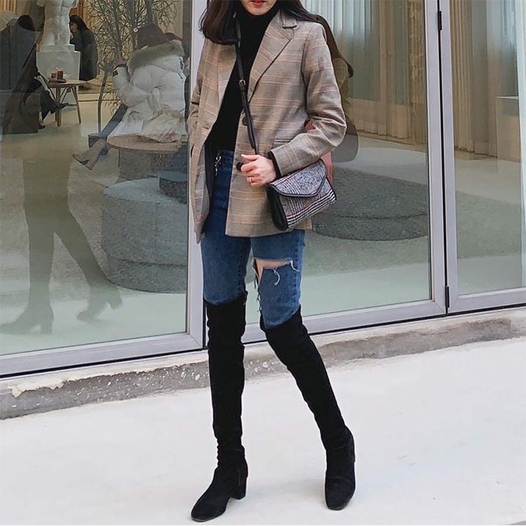 顯瘦感絨料中跟膝上長靴 小隻女穿搭 膝上靴穿搭 11.sns穿搭
