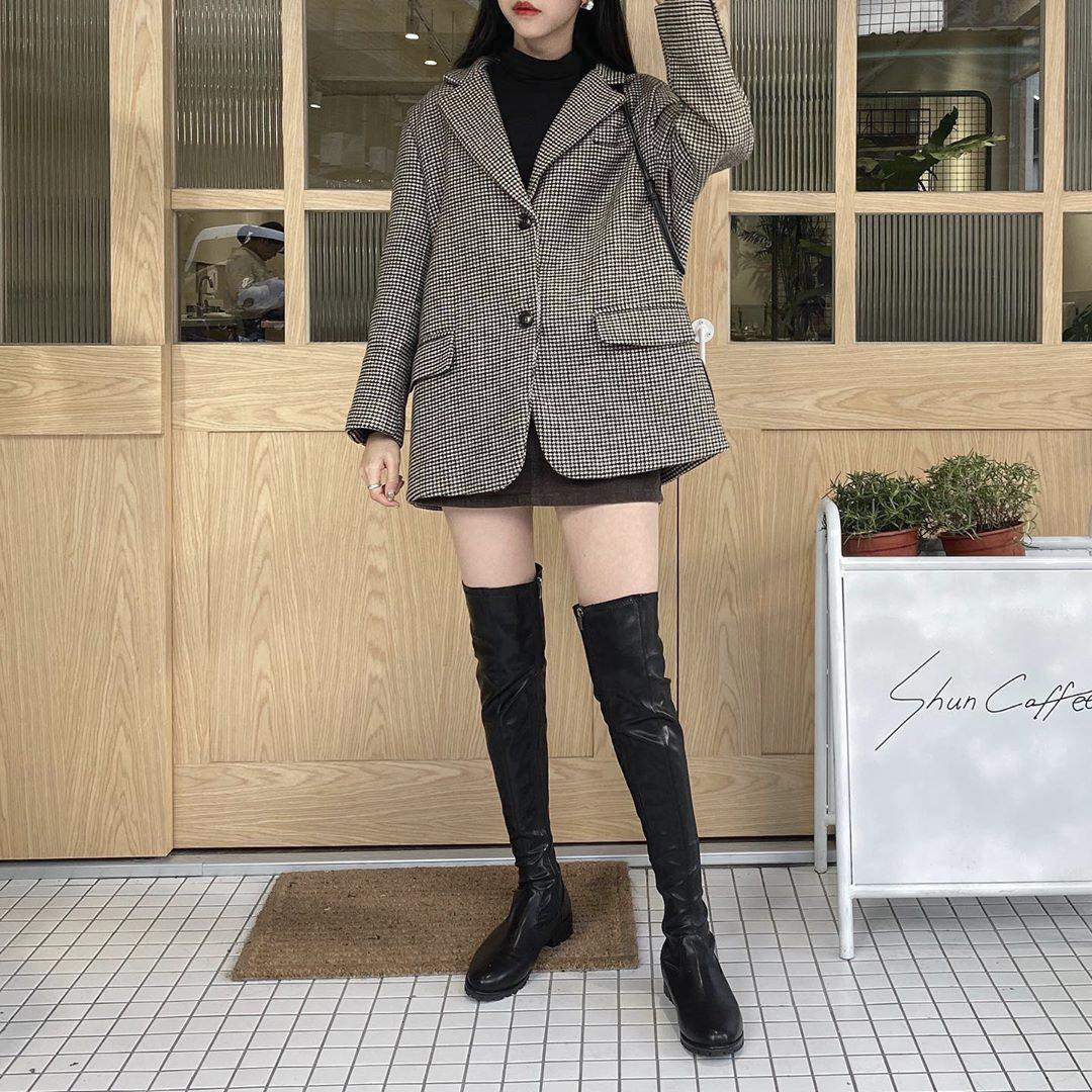 D+A激瘦剪裁美腿膝上長靴 小隻女穿搭 膝上靴穿搭