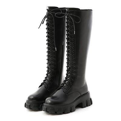 顯瘦感絨料低跟膝上長靴