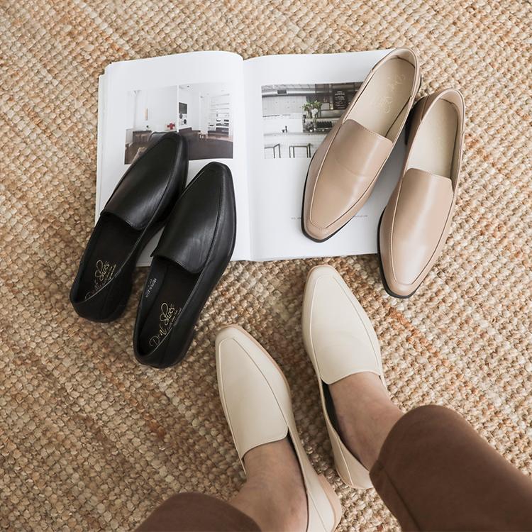 素面剪裁低跟樂福鞋 樂福鞋推薦 樂福鞋女
