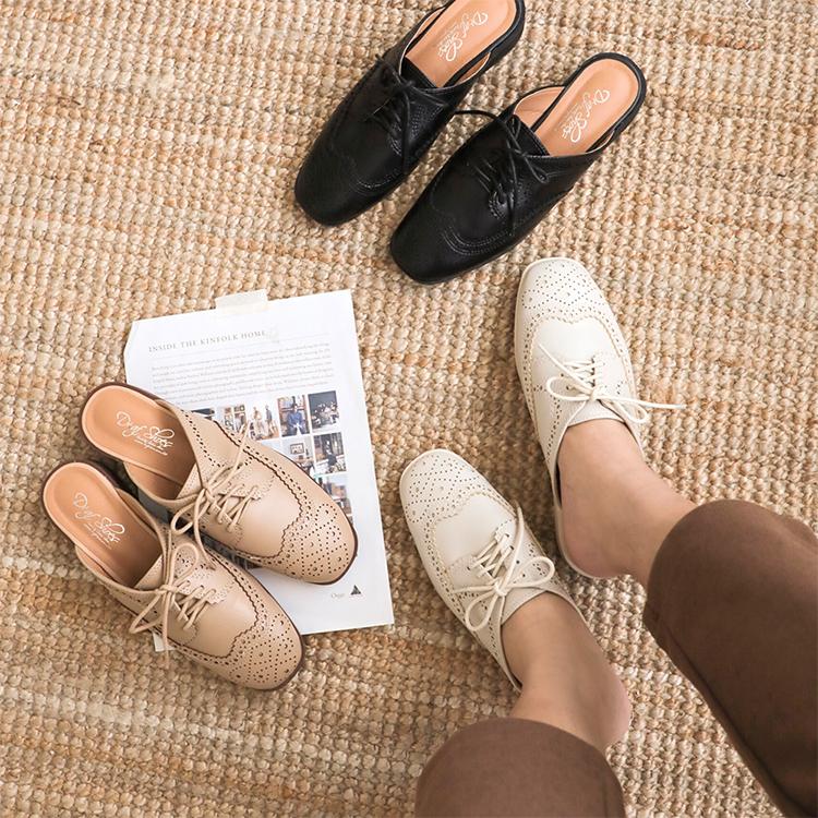 D+AF復古雕花牛津穆勒鞋