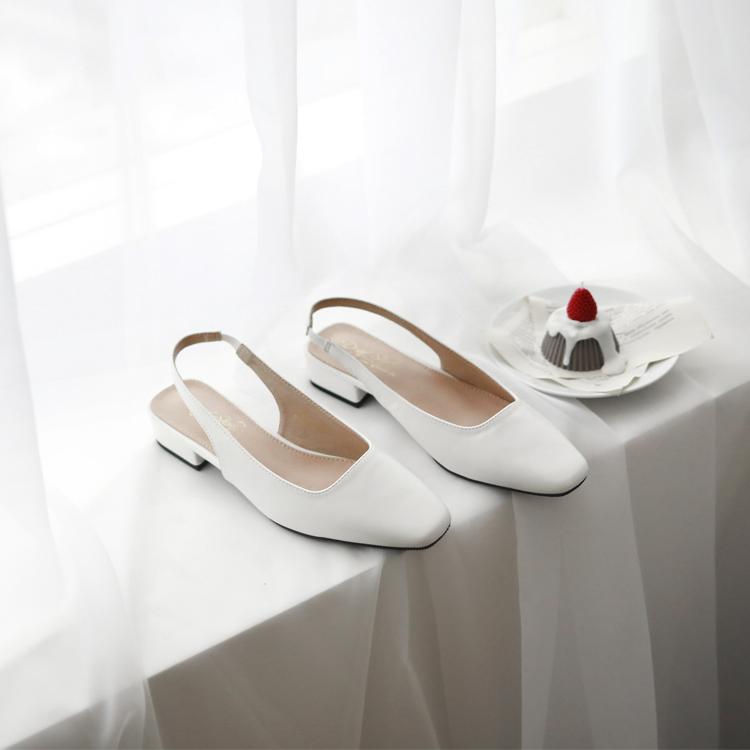 小白鞋 後空跟鞋 跟鞋 低跟鞋 白鞋 白色後空跟鞋