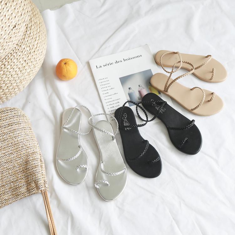 編織涼鞋 套指涼鞋 簡約平底涼鞋