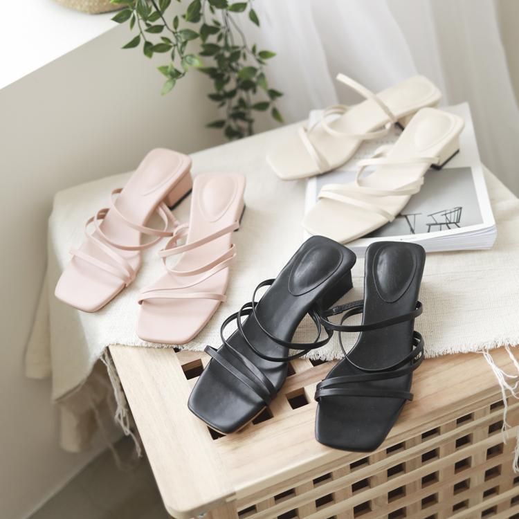 多層次細帶設計 低跟涼鞋 二穿式涼鞋 穆勒式涼鞋