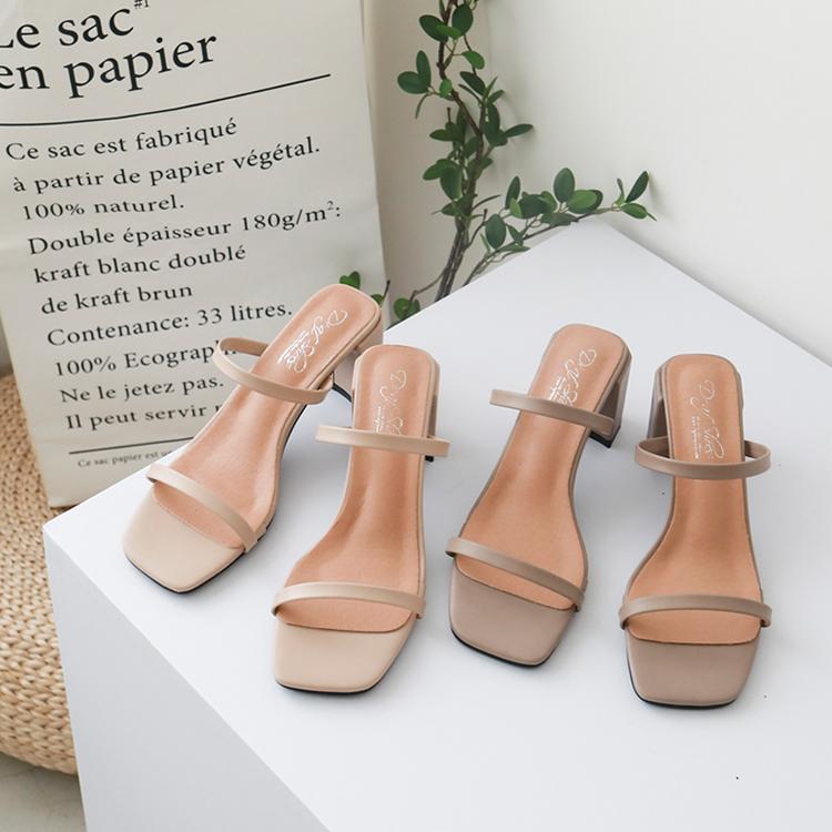 復古方頭涼鞋 一字美型涼鞋 韓系小姐姐穿搭風格