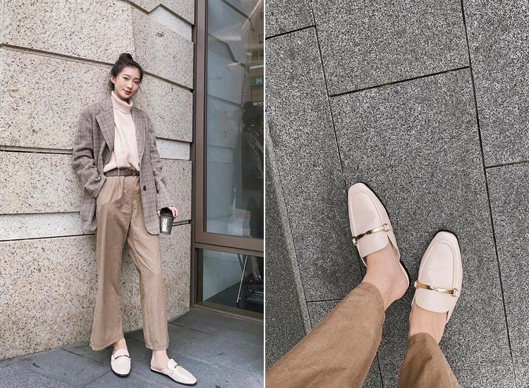 陳華Hua Chen穿搭 金屬扭結方頭穆勒鞋 米色