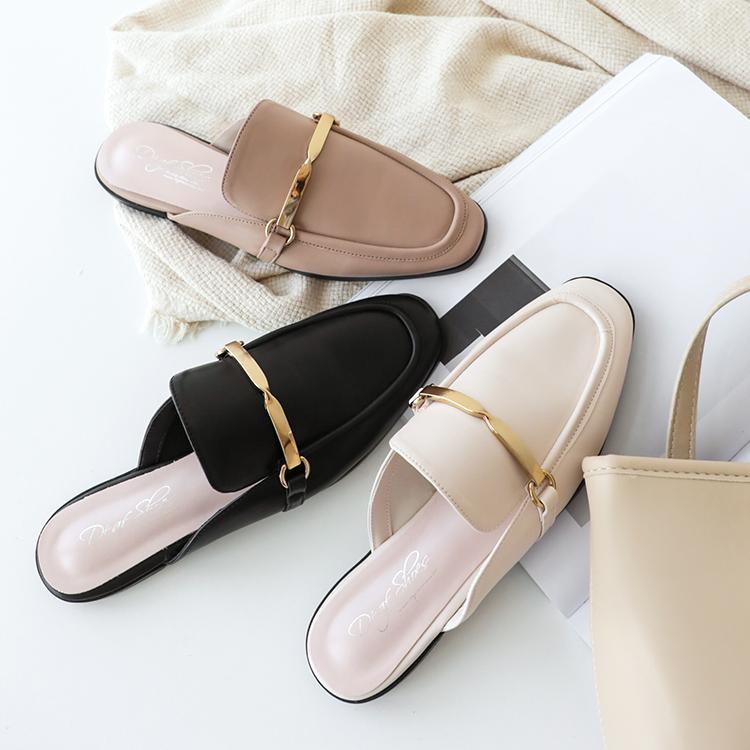 金屬扭結方頭穆勒鞋