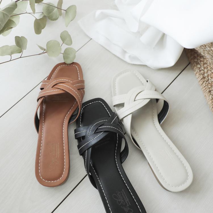 交叉皮革拖鞋 立體車線設計 方頭拖鞋