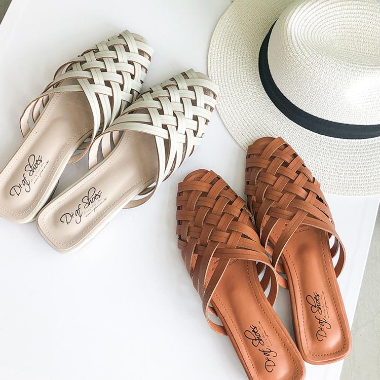 復古感穆勒鞋 編織簍空