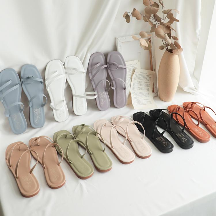 不對稱設計涼鞋 細帶平底涼鞋