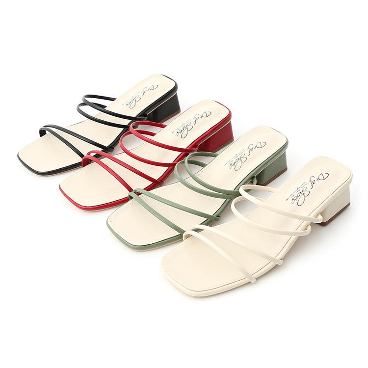 D+AF 一鞋多穿美鞋推薦 細帶方頭涼鞋 多層次低跟涼鞋