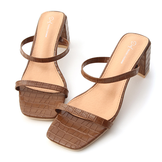 D+AF立體壓紋一字高跟涼鞋 高跟拖鞋推薦 女