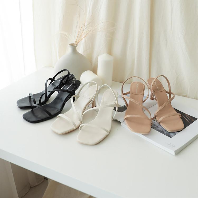 D+AF一字斜帶方頭高跟涼鞋 涼鞋推薦 涼鞋女