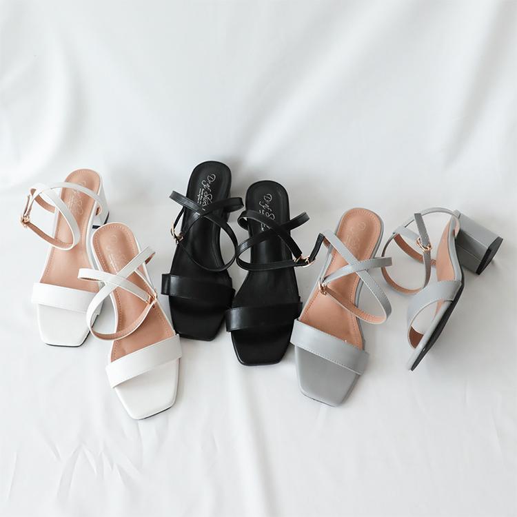 D+AF一字繫踝方頭高跟涼鞋 拖鞋 涼鞋推薦 涼鞋女