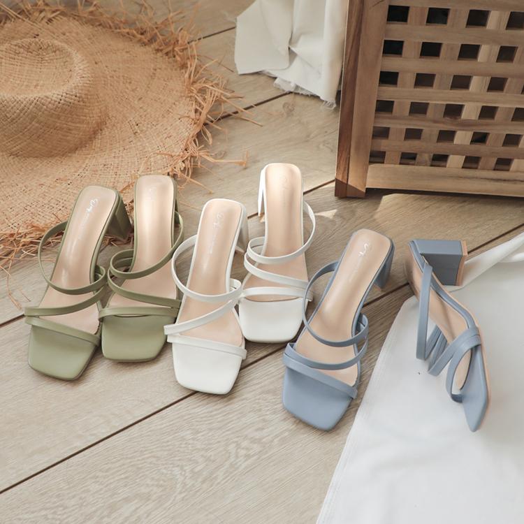 Z字細帶顯瘦高跟涼鞋 藍紫色涼鞋