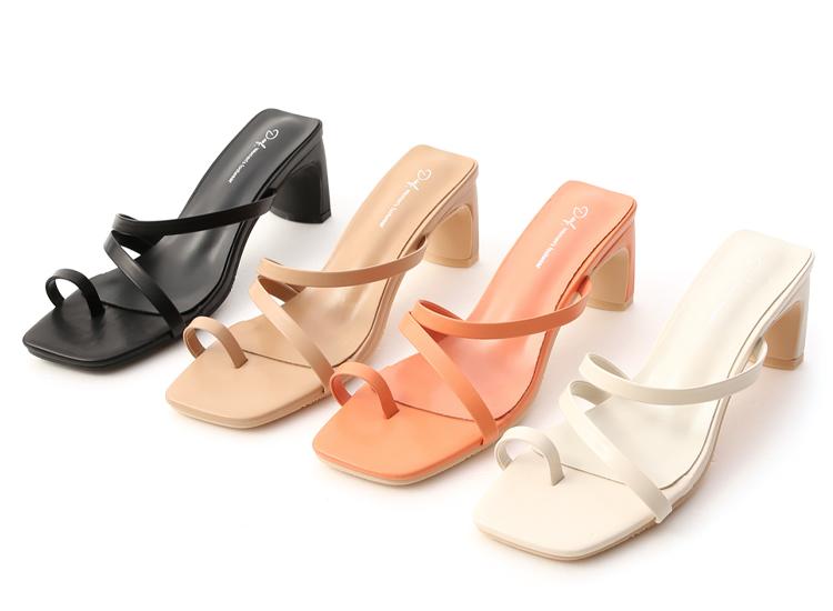 套指斜帶扁跟高跟涼鞋 橘色涼鞋