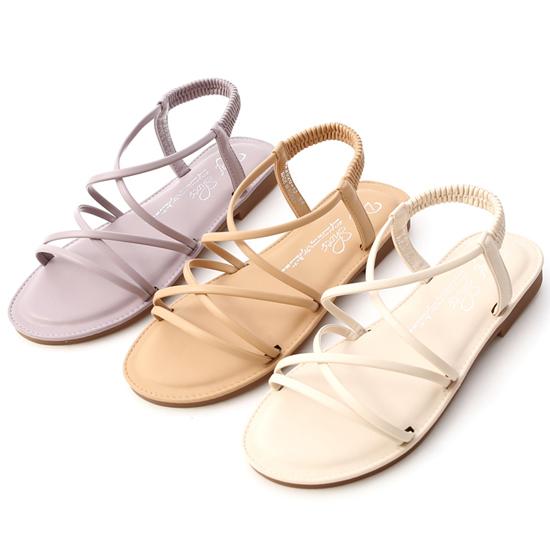 交叉細帶超軟Q底涼鞋 紫色涼鞋