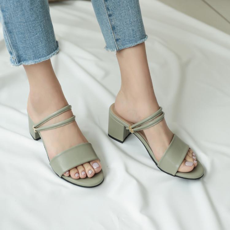 大尺碼兩穿涼鞋推薦41、42、43碼 台灣製造大尺碼中跟涼鞋 2way兩種穿法涼鞋