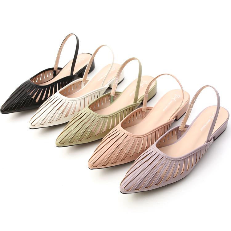 花形鏤空尖頭後空鞋