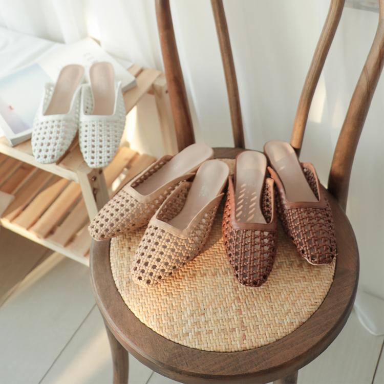 編織鏤空方頭穆勒鞋