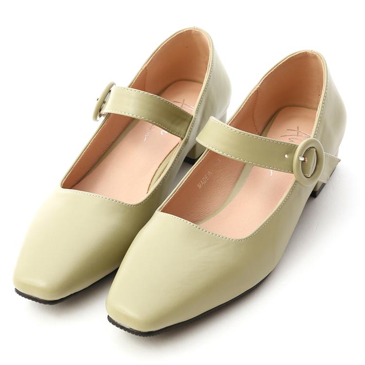 D+AF 流行色系 朦朧玉色 瑪莉珍鞋 方頭低跟鞋 薄荷綠鞋