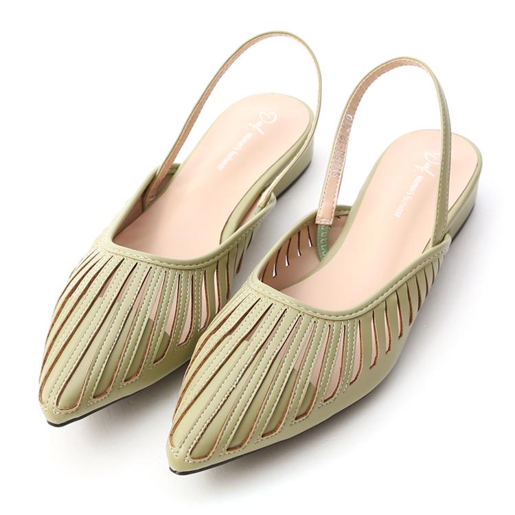 D+AF 朦朧玉色 後空鞋 簍空後空鞋 尖頭鞋 薄荷綠鞋