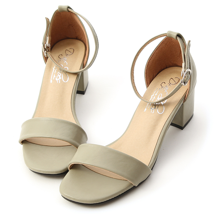 D+AF 朦朧玉色 一字涼鞋 方頭中跟涼鞋 一字繫踝涼鞋 薄荷綠鞋