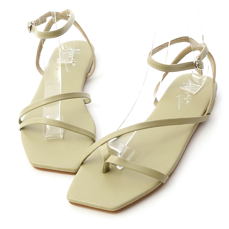 D+AF秋冬流行色 朦朧玉色 不對稱繞踝涼鞋 方頭細帶涼鞋 薄荷綠鞋