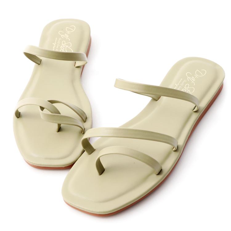 D+AF朦朧玉色 不對稱細帶涼鞋 細帶低跟涼鞋 方頭細帶涼鞋 薄荷綠鞋