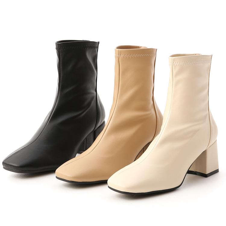 素面斜線方頭高跟襪靴