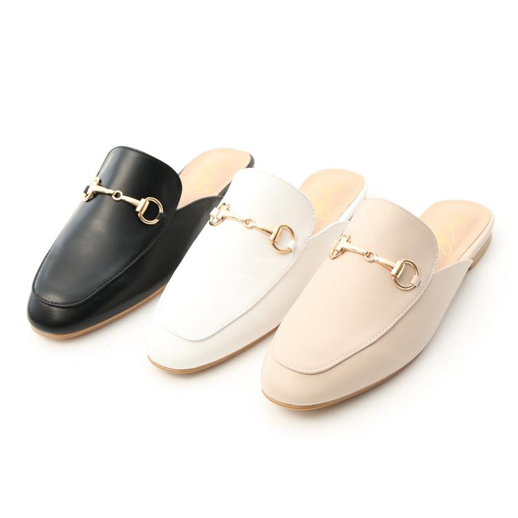 質感馬銜釦平底穆勒鞋