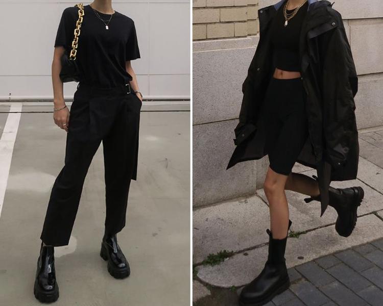 切爾西靴穿搭 厚底靴穿搭 黑色系穿搭