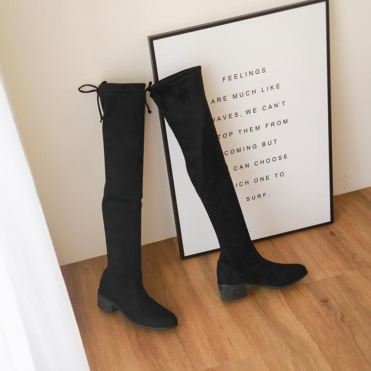 D+AF顯瘦感絨料低跟膝上長靴 膝上靴