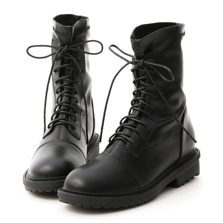 D+AF 軟皮革 帥氣中性風 綁帶靴 帥氣穿搭