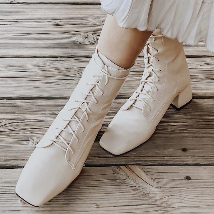 D+AF 復古方頭 綁帶靴 軟皮革綁帶靴