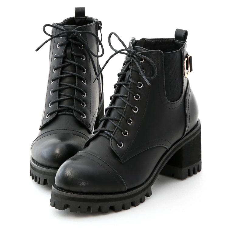 D+AF 超厚底 綁帶機車靴 綁帶靴 酷帥風格