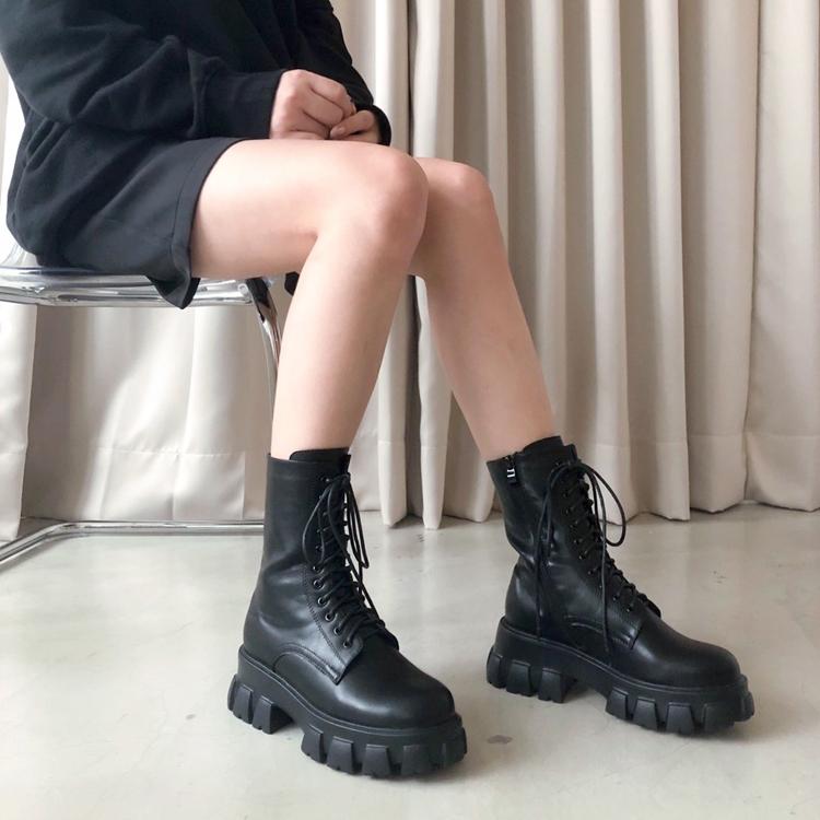 D+AF 綁帶靴 鋸齒狀 厚底綁帶靴 秋冬帥氣穿搭