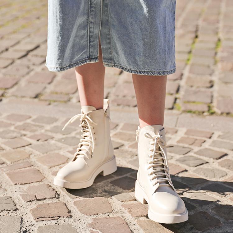 D+AF 型人綁帶靴 街頭帥氣穿搭 加厚底綁帶靴 馬汀白靴