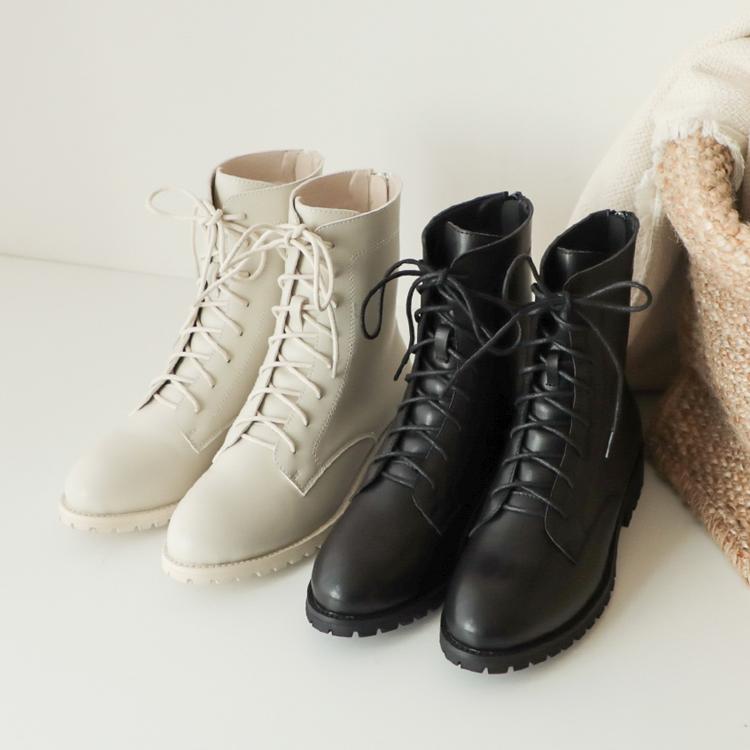 D+AF 英倫綁帶靴 圓頭綁帶靴 霧面漆皮綁帶靴