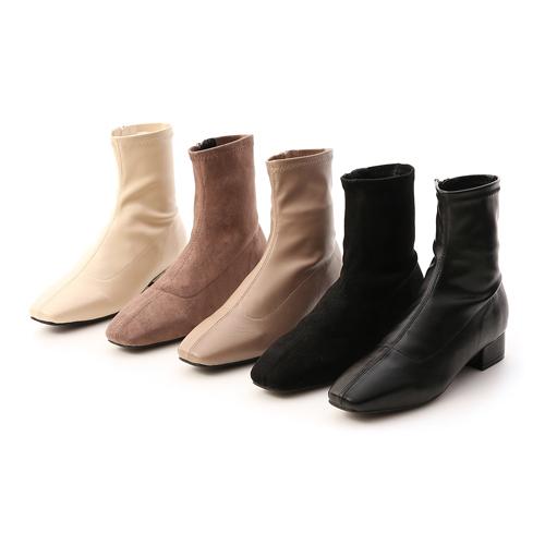 素面車線方頭低跟襪靴 黑色 奶茶色 杏色