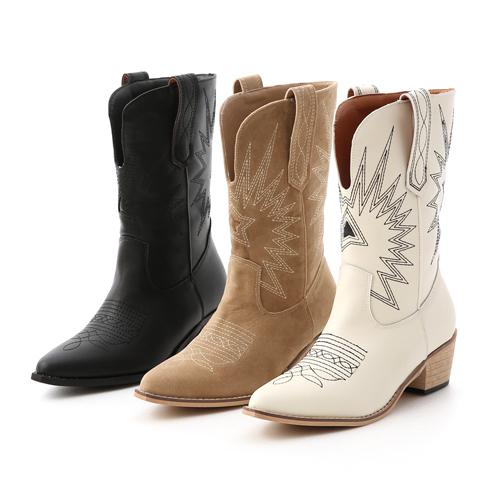 刺繡圖騰大V口牛仔靴 西部靴