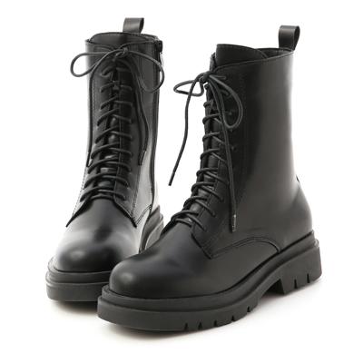 鬆糕底綁帶中筒馬汀靴 馬丁靴 黑色中筒靴