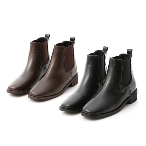 方頭低跟切爾西短靴 黑色靴 咖啡色靴