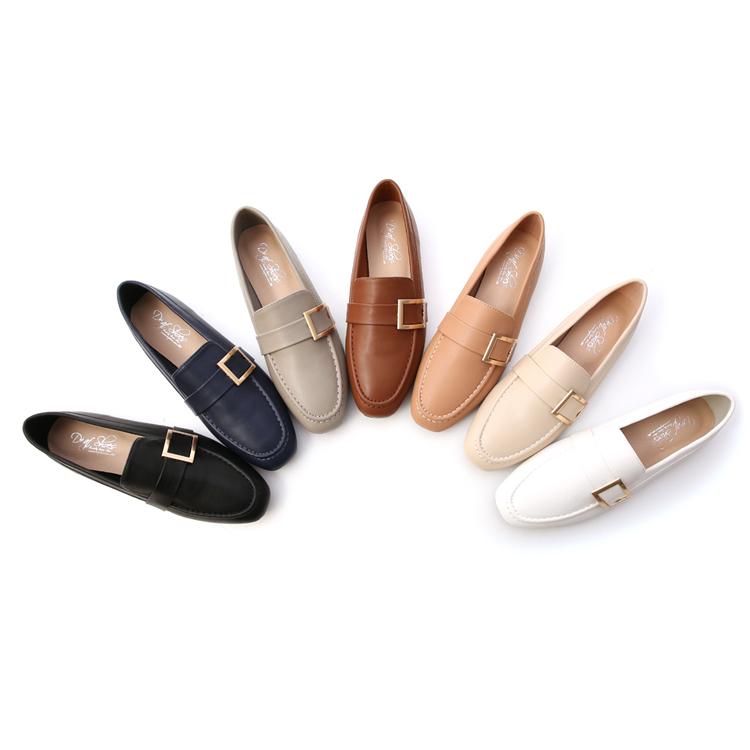 D+AF 品味生活.金屬大方釦平底樂福鞋